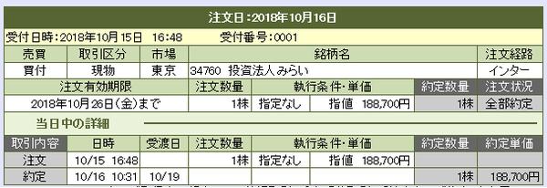 投資法人みらいNISA買付20181016