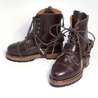 Rind belted military boots