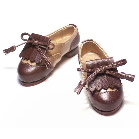 チョコレート色のドール靴 クラシカルなウィングチップ for DD