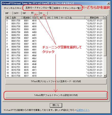 TvRock用デフォルトチャンネル設定ファイル作成