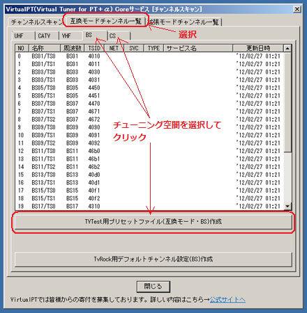 TVTest用プリセットファイル作成
