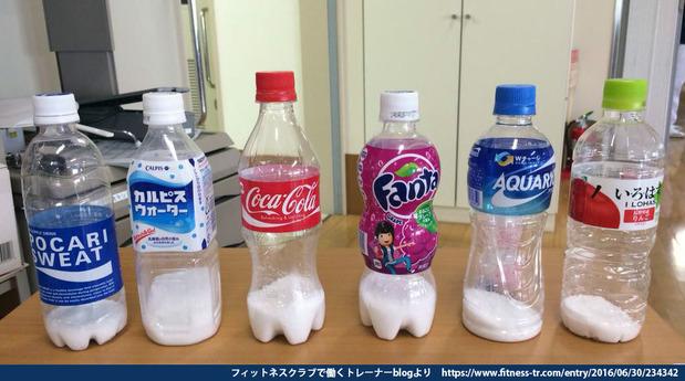 ペットボトル飲料に含まれる砂糖の量
