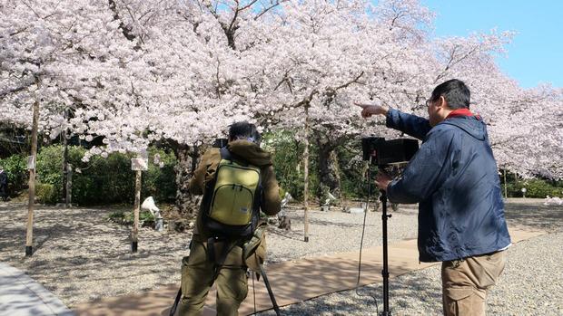 熊野神社での撮影模様
