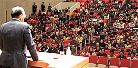 高萩市民会館での公明党時局講演会