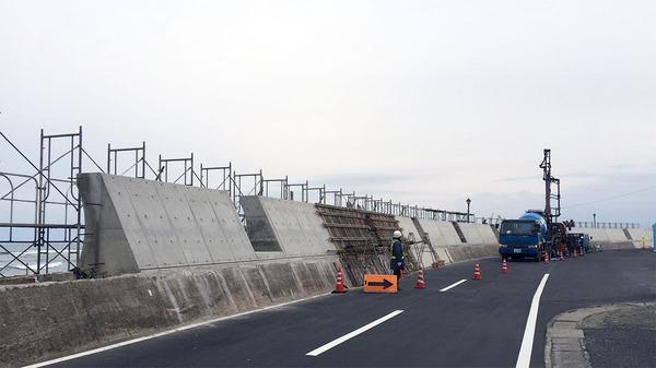 河原子北浜海岸の防潮堤工事