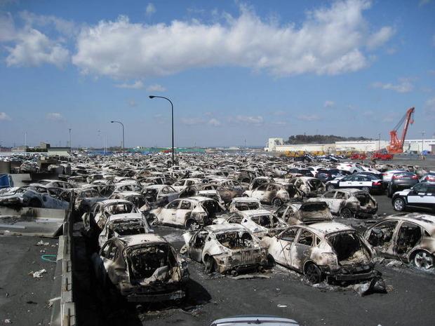 茨城港日立港区第5埠頭の車両火災跡
