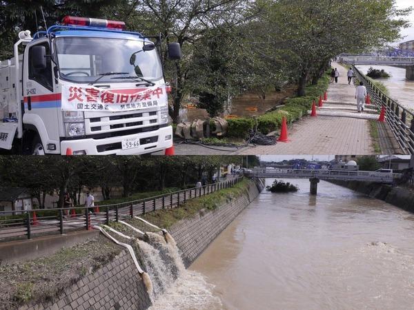 大型ポンプ車による排水作業