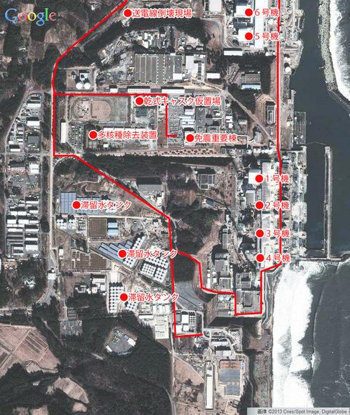 東京電力福島第1発電所の航空写真<GoogleMapより>