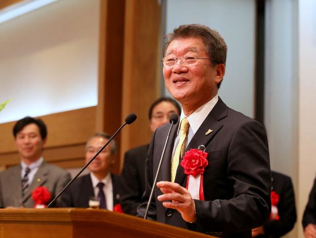 中川清土浦市長による乾杯の発声