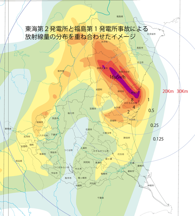 福島第1原発の放射能拡散を東亜医大2原発中心に重ね合わせると