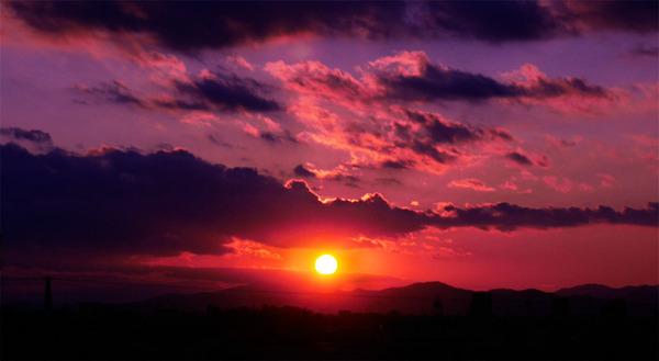 いばらきの夕陽