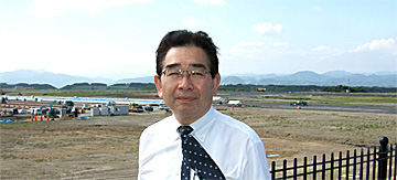 富士山静岡空港の建設現場で