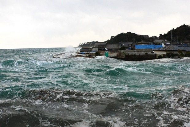 東連津川河口の津波状況