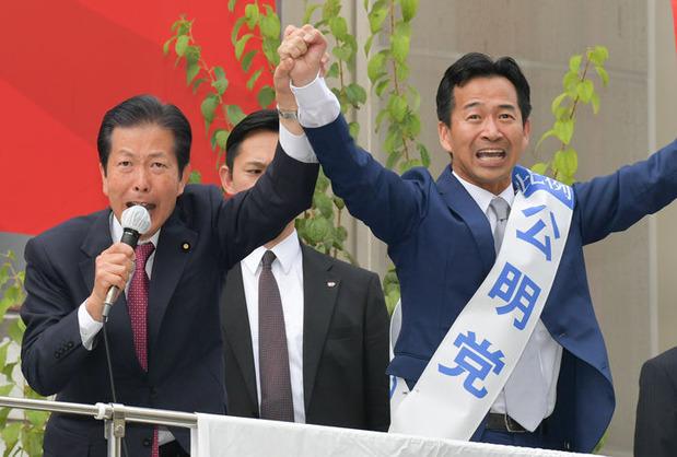 山口代表と岡本三成比例候補