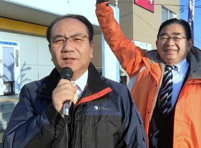 JR大みか駅前での議会報告