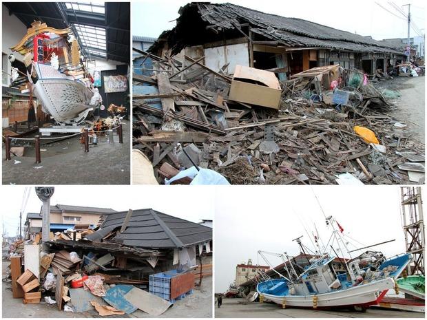 東日本大震災直後の大津町(2011/3/14撮影)