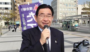 JR日立駅で県議会報告を行う井手よしひろ県議
