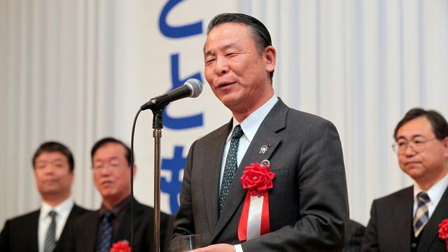 公明党茨城県本部新春の集いで挨拶する加倉井JA会長
