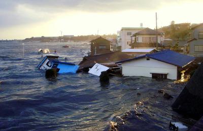 河原子海岸を襲った津波