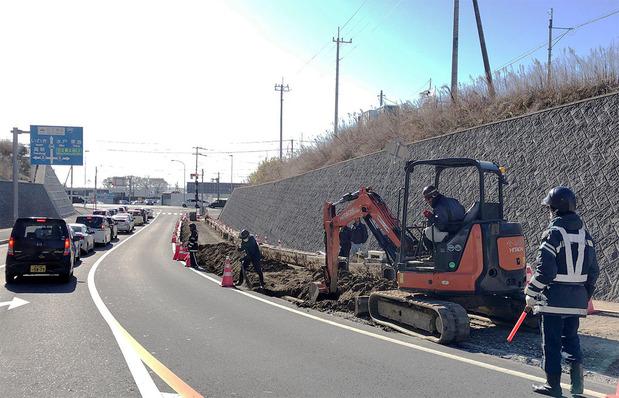 山側道路の工事