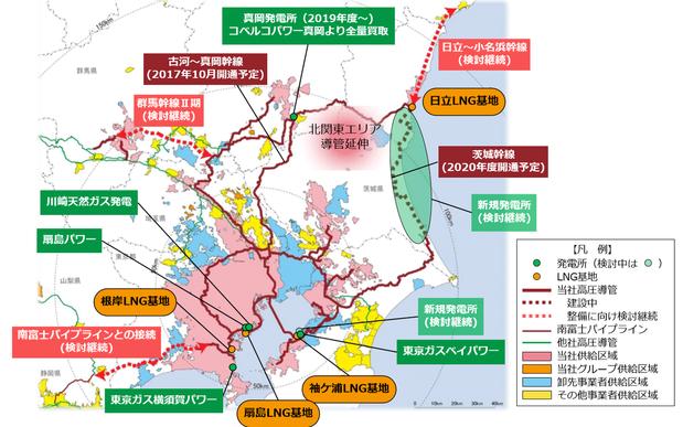 東京ガスのエネルギーインフラの整備(2020年代概要図)