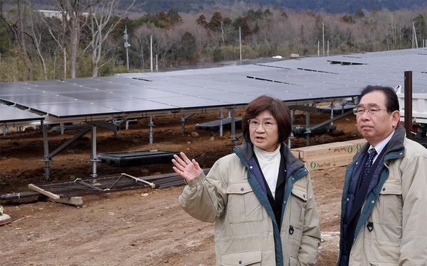 つくば市沼田(筑波山中腹)のメガソーラー建設現場を田村けい子県議と共に調査