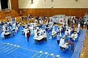 避難所に指定された東海村総合体育館