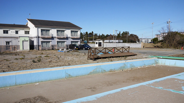 被災した建物の撤去が完了した鵜の島温泉(2011年12月22日)