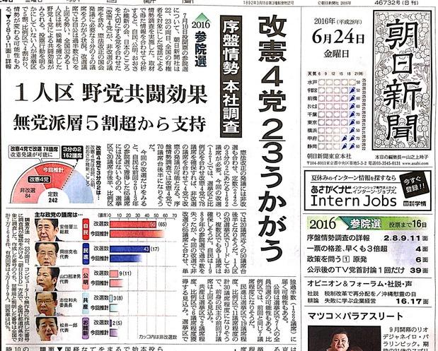 朝日新聞<6月24日付け>