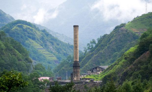 足尾銅山の大煙突