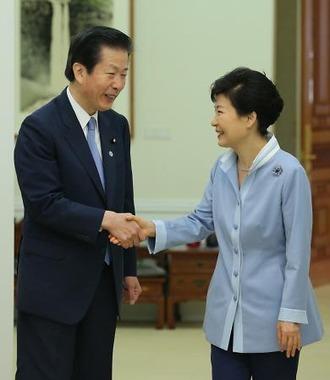 朴槿恵大統領と山口那津男代表の会談