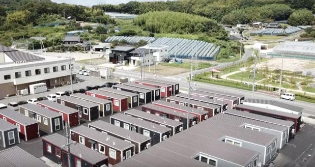 西日本豪雨被害(岡山県倉敷市真備町)での移動式木造住宅を活用した仮設住宅