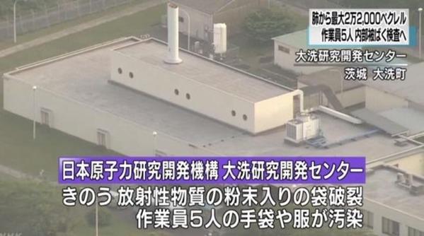 原子力機構「大洗研究開発センター」で被ばく事故