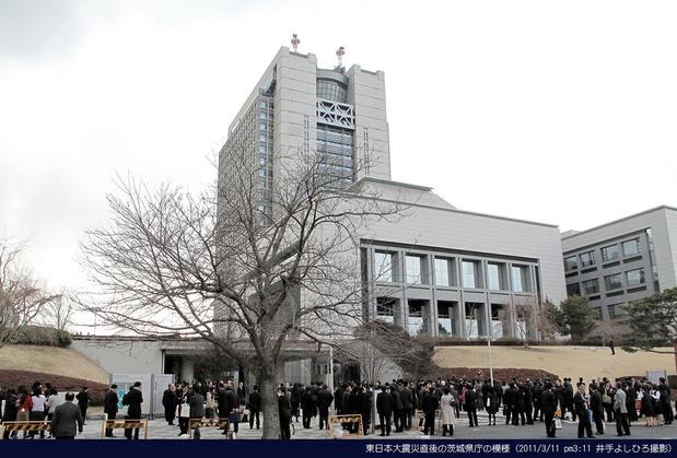 東日本大震災直後の茨城県庁