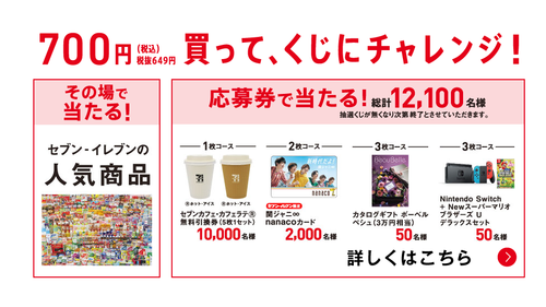 セブンイレブン 700円くじ 当選率