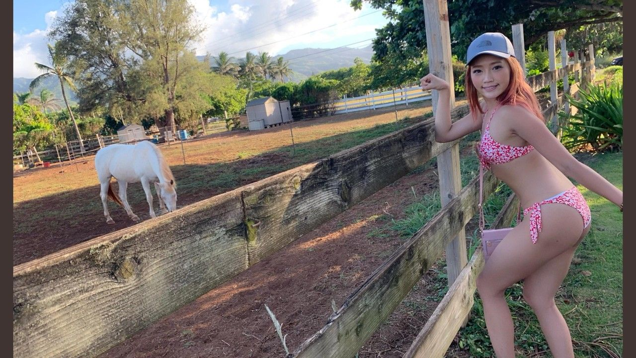 【画像】牧場に水着姿で見学する美女を発見!