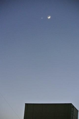 金星と三日月遠影