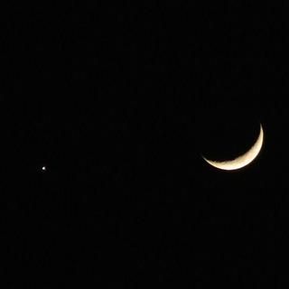 金星と三日月近影
