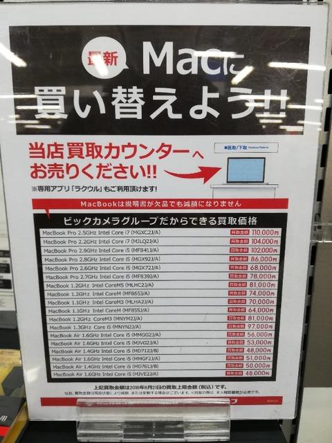 MacBook買い取り表