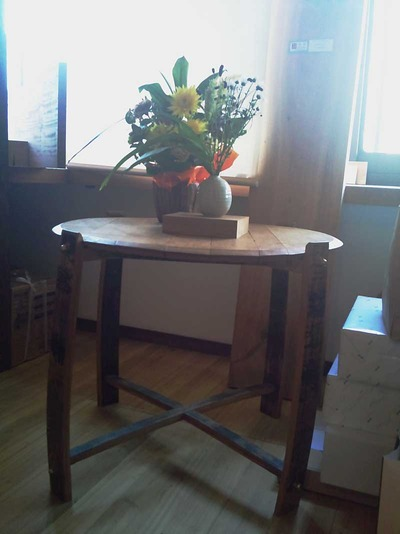 ビア樽から作られたテーブル