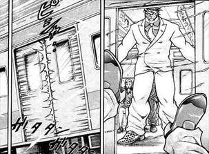 バキ外伝スカーフェイス3巻 走行中の電車のドアを開ける花山薫