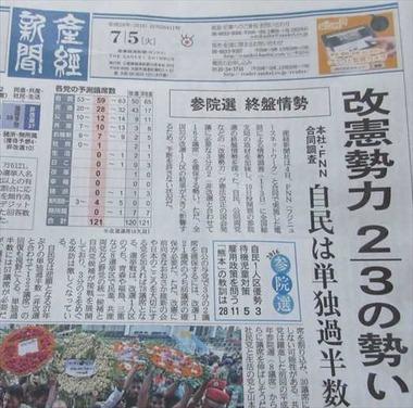 2016年 参院選 各党の予想獲得議席 産経新聞7月5日1
