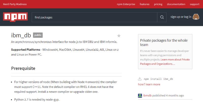 Node js から dashDB (や DB2)にアクセスする : まだ