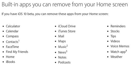 iOS10removeAppList