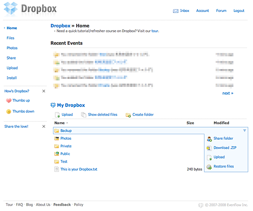 Dropbox on Browser
