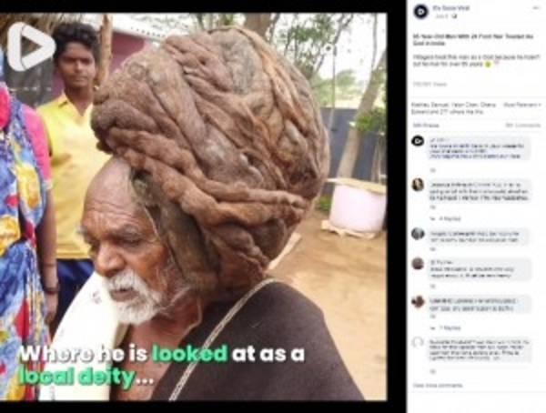 95年間1度も髪を切ったことがないインド人男性