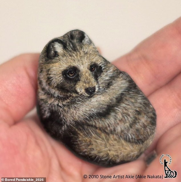 Fur_real_This_little_stone_painted_to_appear_as_a_raccoon_looked