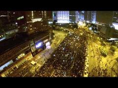 香港デモ空撮