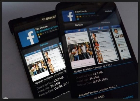 tampilan facebook blackberry