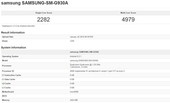 Snapdragon820版 Galaxy S7のベンチマーク結果